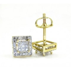 10k Gold Diamond 3d Frame Earrings 0.27ct