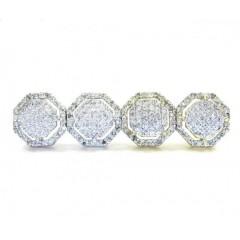 10k Gold Diamond 3d Hexagon Earrings 0.32ct