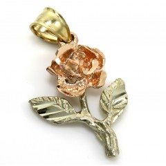 14k Tri Color Gold Rose Pendant