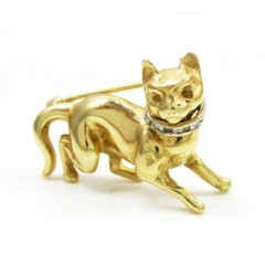 14k Yellow Gold Diamond Cat Pendant 0.10ct
