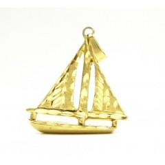 14k Yellow Gold Diamond Cut Sail Boat Pendant