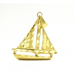 14k Yellow Gold Diamond Cut Sail Boat Pendant