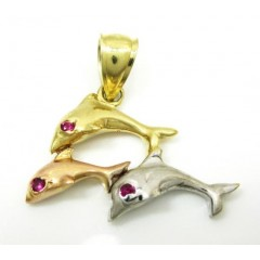 14k Tri Color Gold Dolphin Pendant