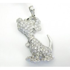 14k White Gold Diamond Dog Pendant 1.25ct