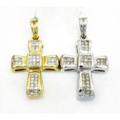 14k Gold Mini Diamond Cross 0.65ct