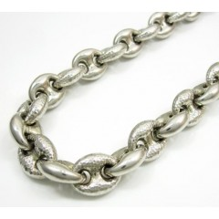 925 Sterling Silver Puffed Gucci Link Chain 36 Inch 12mm
