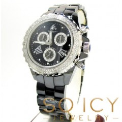 Mens Techno Jpm Black Ceramic Diamond Watch 1.35ct