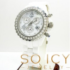 Mens Techno Jpm White Ceramic Diamond 38mm Watch 2.75ct