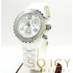 Ladies 35mm Techno Jpm White Ceramic Diamond Watch 1.25ct