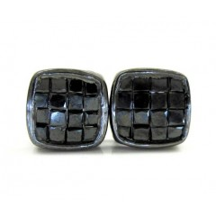 10k Black Gold Black Diamond Cube Earrings 1.50ct