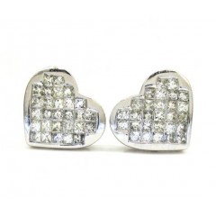 14k White Gold Princess Diamond Heart Earrings 1.00ct