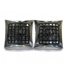 10k Black Gold Black Diamond Kite Earrings 1.75ct