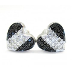 10k Black Gold Black & White Diamond Heart Earrings 0.35ct