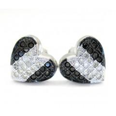 10k Black Gold Black & White Diamond Heart Earrings 0.35ct