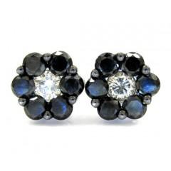 14k Black Gold Black & White Diamond Cluster Earrings 2.75ct