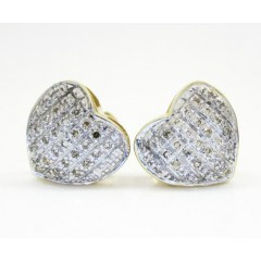 10k Yellow Gold Diamond Heart Earrings 0.25ct