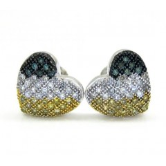 10k Yellow Gold Tri Color Diamond Heart Earrings 0.35ct