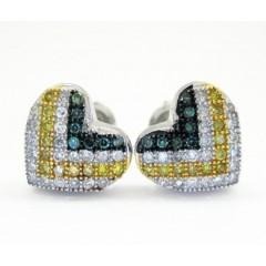 10k White Gold Tri Color Diamond Heart Earrings 0.50ct