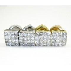 10k Gold Princess Cut Diamond Cube Earrings 0.60ct
