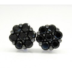 14k White Gold Black Diamond Cluster Earrings 1.00ct