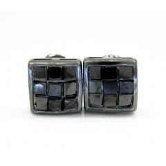 10k Black Gold Black Diamond Cube Earrings 1.00ct