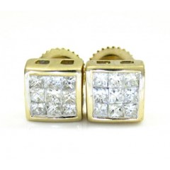 14k Yellow Gold Princess Diamond Cube Earrings 0.60ct