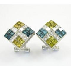 14k White Gold Tri Color Diamond Kite Earrings 2.00ct