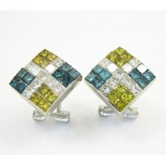 14k White Gold Tri Color Diamond Kite Earrings 2.00ct