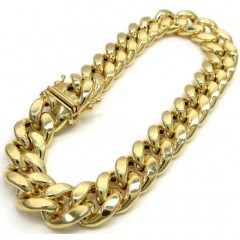 Mens 10k Yellow Gold Hollow Puffed Cuban Miami Bracelet 9 Inch 13mm