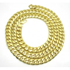 Mens 10k Yellow Gold Hollow Puffed Cuban Miami Chain 40 Inch 13mm