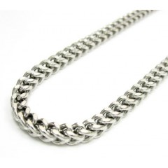 Mens 10k White Gold Franco Chain 18-24 Inch 3.50mm