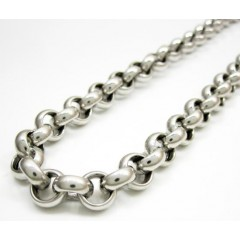14k Solid White Gold Circle Rolo Chain 24 Inch 8mm
