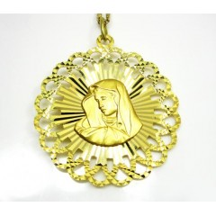 14k Yellow Gold Double Sided Jesus & Virgin Mary Pendant