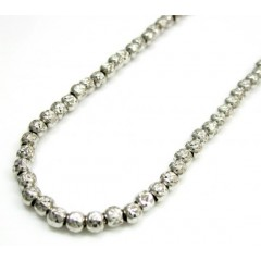 14k White Gold Faceted Cut Bead Chain 18 Inch 3mm