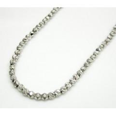 14k White Gold Diamond Cut & Hexagon Cut Bead Chain 24 Inch 2mm
