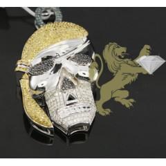 2.50ct 14k Solid White Gold Diamond color Pirate Skull Pendant