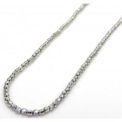14k White Gold Diamond Cut Bead Chain 22 Inch 2mm