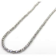 14k White Gold Diamond Cut Bead Chain 20-24 Inch 2mm