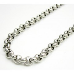 14k Solid White Gold Circle Rolo Chain 20-30 Inch 3.7mm
