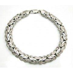 14k White Gold Solid Byzantine Bracelet 8.5 Inch 9mm