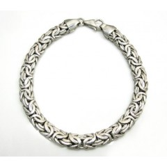 14k White Gold Solid Byzantine Bracelet 7.25 Inch 6.8mm