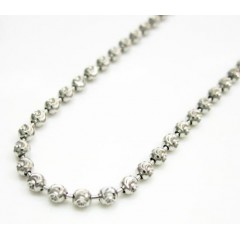 14k Solid White Gold Diamond Cut Bead Chain 20 Inch 2mm