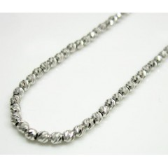 14k Solid White Gold Diamond Cut Bead Chain 18 Inch 1.9mm