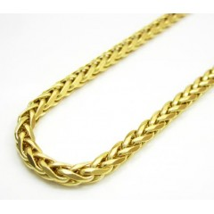 14k Solid Yellow Gold Wheat Link Chain 22 Inch 3mm