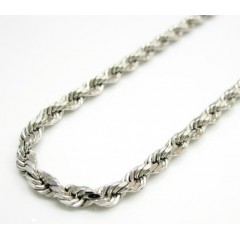 14k Hollow White Gold Rope Chain 20-24 Inch 3mm