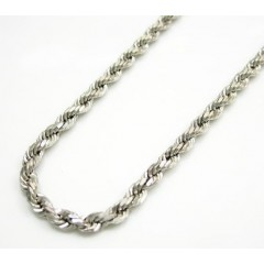 14k Hollow White Gold Rope Chain 20-22 Inch 2.5mm
