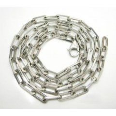 14k Solid White Gold Long Box Link Chain 24 Inch 4.7mm
