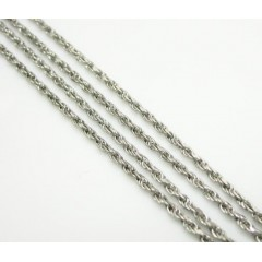 14k Solid White Gold Rope Chain 18-24 Inch 1mm