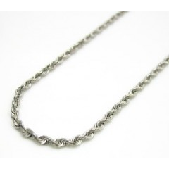 14k Hollow White Gold Rope Chain 18-22 Inch 1.3mm