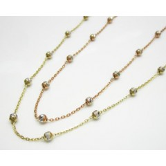 14k Gold Diamond Cut Bead Chain 16-20 Inch 2.5mm